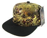 Blank Retro Floral Snapback Hats Wholesale - Gold.Burgundy Flowers Crown