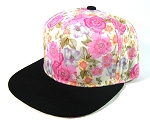 Blank Retro Floral Snapback Hats Wholesale - White & Pink Flowers Crown