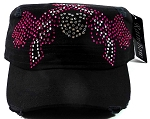 Bling Crossed Pistols Wings Cadet Hats Wholesale - Black