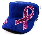 Bling Breast Cancer Pink Ribbon Cadet Hats Wholesale - Blue