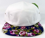Wholesale 5 Panel Floral Camp Hats Caps - White | Navy Flower
