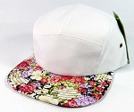 Wholesale 5 Panel Floral Camp Hats Caps - White | Multicolored Flower