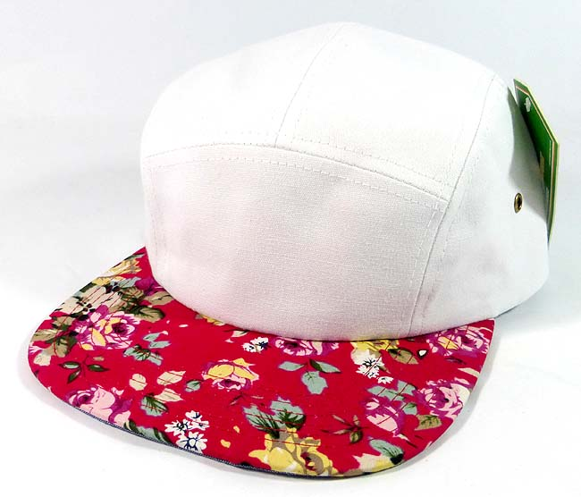 f542cf308ba Home   ALL HATS   Wholesale 5 Panel Floral Camp Hats Caps - White