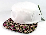 Wholesale 5 Panel Floral Camp Hats Caps - White | Black Roses Small