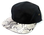 Wholesale 5 Panel Animal Print Camp Hats Caps - Black | Snakeskin Python