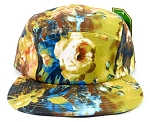 Wholesale 5Panel Floral Camp Hats Caps - Yellow | Rose