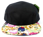 Wholesale 5Panel Floral Camp Hats Caps - Black | Hawaiian Flower