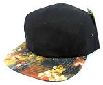 Wholesale 5Panel Floral Camp Hats Caps - Black | Wild Red Flower