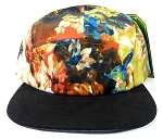Wholesale 5Panel Floral Camp Hats Caps - Wild Flowers | Black Brim