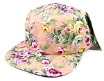 Wholesale 5Panel Floral Camp Hats Caps - Pink Flowers