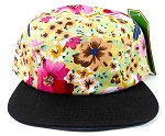 Wholesale 5Panel Floral Camp Hats Caps - Hawaiian Flower | Black