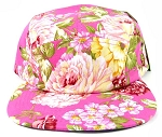 Wholesale 5Panel Floral Camp Hats Caps - Pink Flowers 2