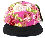 Wholesale 5Panel Floral Camp Hats Caps - Pink Flowers | Black