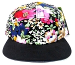 Wholesale 5Panel Floral Camp Hats Caps - Hawaiian Flowers | Black