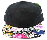 Wholesale 5Panel Floral Camp Hats Caps - Black | Hawaiian Flowers