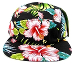 5 Panel Floral Camp Hats Caps Wholesale - Black | Hibiscus Flowers