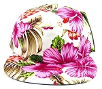 5 Panel Floral Camp Hats Caps Wholesale - White | Pink Hawaiian Flower