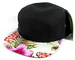 5 Panel Floral Camp Hats Caps Wholesale - Black | Pink Hawaiian Flower