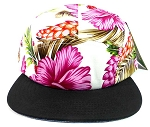 5 Panel Floral Camp Hats Caps Wholesale - Pink Hawaiian Flower | Black