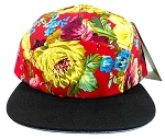 5 Panel Floral Camp Hats Caps Wholesale - Red Flowers | Black