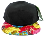 5 Panel Floral Camp Hats Caps Wholesale - Black | Red Flowers