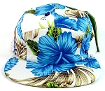 5 Panel Floral Camp Hats Caps Wholesale - Blue Hawaiian Flowers