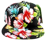 Floral Snapback Hats Caps Wholesale - Black Hawaiian Hibiscus Flower