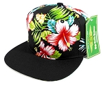 Floral Snapback Hats Caps Wholesale - Hawaiian Hibiscus Flower | Black