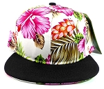 Floral Snapback Hats Caps Wholesale - Pink Hawaiian Flowers | Black