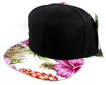 Floral Snapback Hats Caps Wholesale - Black | Pink Hawaiian Flowers