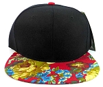 Floral Snapback Hats Caps Wholesale - Black | Red Flowers