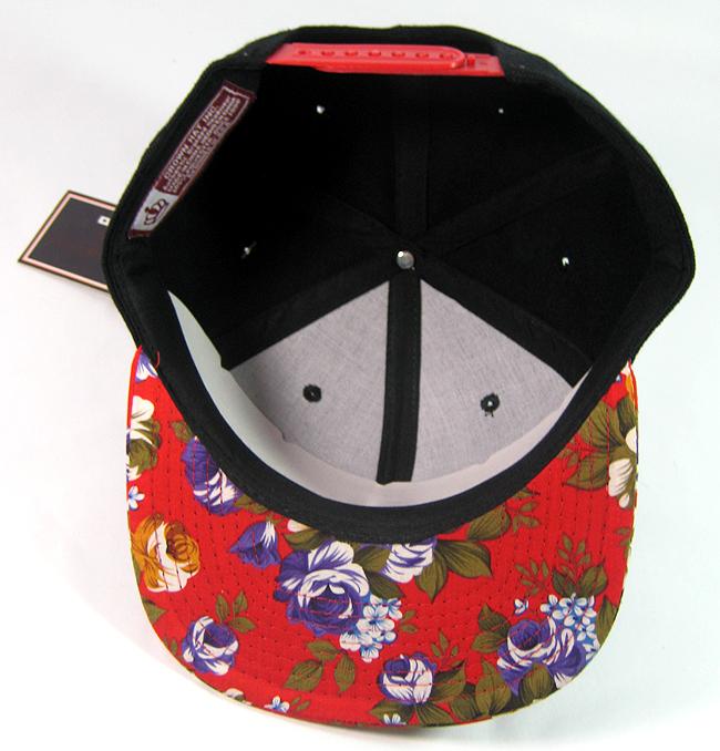 ef85f25510a Junior Kids Plain Snapback Hats Wholesale - Children Floral Caps 16 - Red  Brim ( 11 pcs left)
