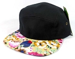 Junior Kids 5 Panel Camp Hats Wholesale - Children Floral Caps 7