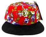 Junior Kids 5 Panel Camp Hats Wholesale - Children Floral Caps 14 - Red Crown