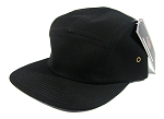 Junior Kids 5 Panel Camp Hats Wholesale - SOLID BLACK