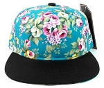 Junior Kids Plain Snapback Hats Wholesale - Children Floral Caps 8 - Turquoise Crown