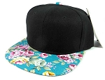 Junior Kids Plain Snapback Hats Wholesale - Children Floral Caps 9 - Turquoise Brim