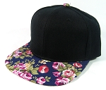 Junior Kids Plain Snapback Hats Wholesale - Children Floral Caps 15 - Navy Brim