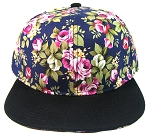 Junior Kids Plain Snapback Hats Wholesale - Children Floral Caps 18 - Navy Crown