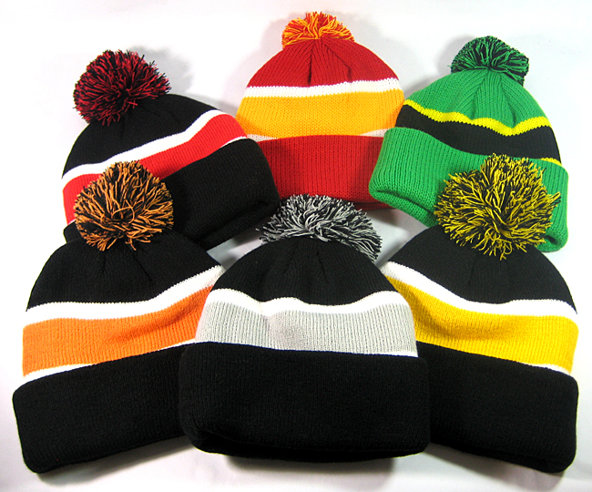 Wholesale Pom Pom Winter Beanies Cuff Long Trendy Beanie Hats Sale Cheap 4db72ebd395