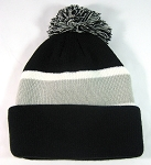 Wholesale Pom Pom Winter Beanies - Black Light Gray