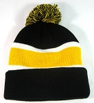 Wholesale Pom Pom Winter Beanie Hats - Black Yellow