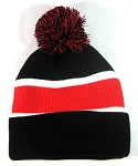 Wholesale Pom Pom Winter Beanies - Black Red