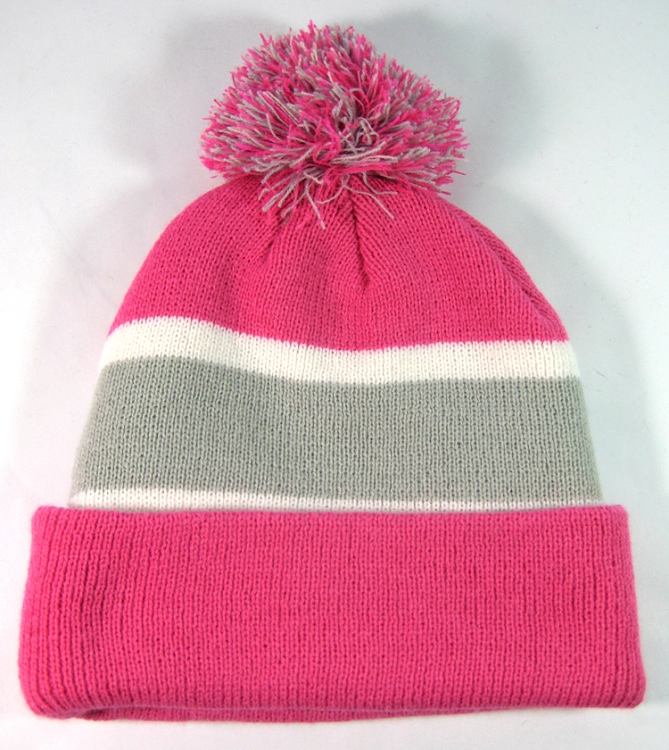 Home   ALL HATS   Wholesale Winter Pom Pom Beanies - Hot Pink  f25c5291c3a