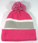 Wholesale Winter Pom Pom Beanies - Hot Pink | Grey