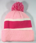 Wholesale Winter Pom Pom Beanies - Baby Pink | Hot Pink