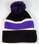 Wholesale Winter Pom Pom Beanies - Black Purple