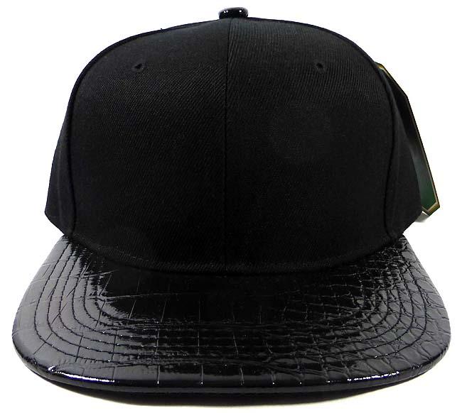 16016b88 Alligator Blank Snapback Hats Caps Wholesale - Black | Black Under-Brim