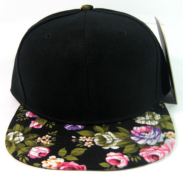 9a611865 Blank Vintage Floral Snapback Hats Wholesale - Black Brim | Large Flower. Blank  Floral Snapbacks Wholesale