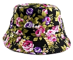Wholesale Floral Bucket Hats - Flowers Black